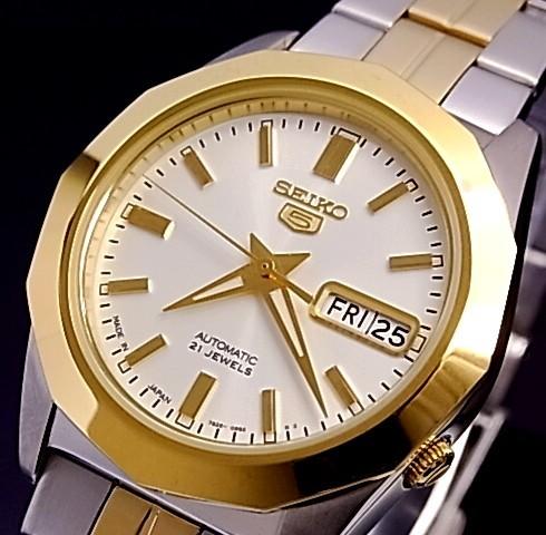 SEIKO/SEIKO5 Dress【セイコーファイブドレス】自動巻 メンズ腕時計 MADE IN JAPAN コンビメタルベルト シルバー文字盤 SNKG84J1 海外モデル【並行輸入品】