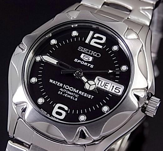 SEIKO/SEIKO5 Sports【セイコー5スポーツ/ファイブスポーツ】自動巻 メンズ腕時計 MADE IN JAPAN メタルベルト ブラック文字盤 SNZ453J1 海外モデル【並行輸入品】