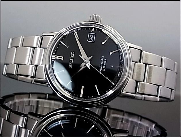 精工机械系列自动缠绕男式手表黑色字符面板的金属带 SARB029 (日本普通版)