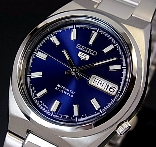 SEIKO/SEIKO5【セイコー5/セイコーファイブ】自動巻 メンズ腕時計 メタルベルト ネイビー文字盤 MADE IN JAPAN セイコーファイブ SNKC51J1 海外モデル【並行輸入品】