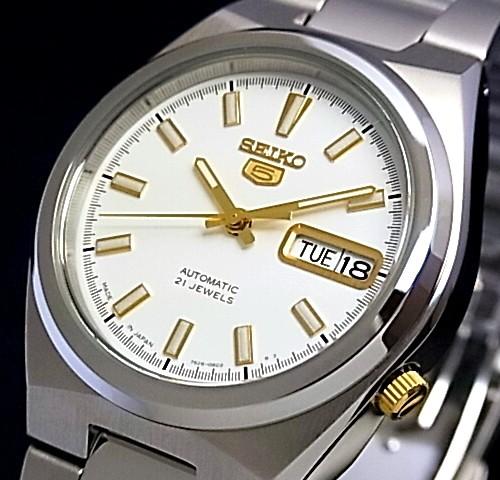 SEIKO/SEIKO5【セイコー5/セイコーファイブ】自動巻 メンズ腕時計 メタルベルト ホワイト/ゴールド文字盤 MADE IN JAPAN セイコーファイブ SNKC47J1 海外モデル【並行輸入品】
