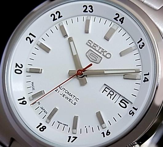 SEIKO/SEIKO5 자동 권 남자 시계 메탈 벨트 화이트 문자판 MADE IN JAPAN SNK559J1 (해외 모델)