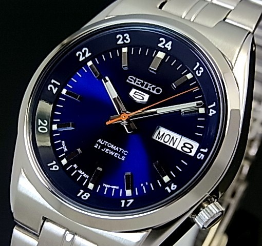 SEIKO/SEIKO5【セイコー5/セイコーファイブ】自動巻 メンズ腕時計 メタルベルト ネイビー文字盤 MADE IN JAPAN セイコーファイブ SNK563J1 海外モデル【並行輸入品】