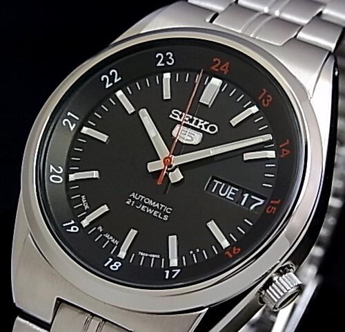 SEIKO/SEIKO5【セイコー5/セイコーファイブ】自動巻 メンズ腕時計 メタルベルト ブラック文字盤 MADE IN JAPAN セイコーファイブ SNK571J1 海外モデル【並行輸入品】