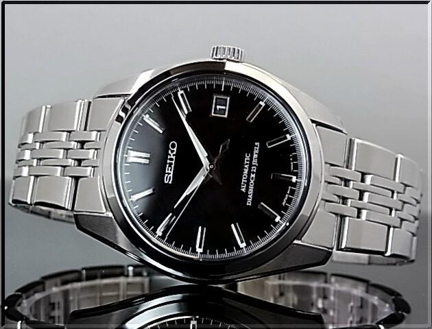 精工/灵机械和自动缠绕男人的手表黑色字符面板金属带 SCVS003 (日本普通版)
