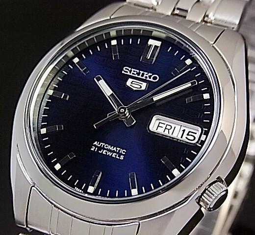 SEIKO/SEIKO5【セイコー5/セイコーファイブ】自動巻 メンズ腕時計 メタルベルト ダークネイビー文字盤 SNK357K1 海外モデル【並行輸入品】