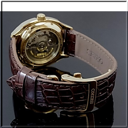SEIKO / Seiko automatic winding mens Watch Gold case white characters Edition brown leather belt SARC010