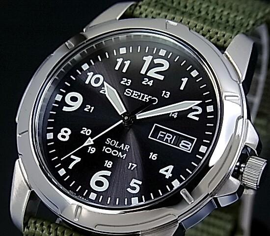 SEIKO/ソーラー時計【セイコー】メンズ腕時計 モスグリーンナイロンベルト ブラック文字盤 SNE095P2 海外モデル【並行輸入品】 SBPX025
