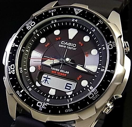 CASIO/Wave Ceptor 남성용 손목시계 솔 러 전파 시계 블랙 문자판 블랙 고무 벨트 WVA-320J-1EJF (국내 정품)