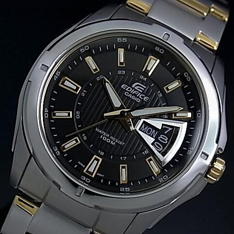 CASIO/EDIFICE【カシオ/エディフィス】コラムデイト メンズ腕時計 ブラック文字盤 コンビメタルベルト EF-129SG-1AV 海外モデル【並行輸入品】