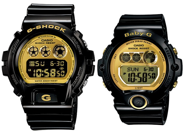 CASIO/G-SHOCK/Baby-G【カシオ/Gショック/ベビーG】ペアウォッチ 腕時計 ブラック/ゴールド DW-6900CB-1/BG-6901-1 海外モデル【並行輸入品】