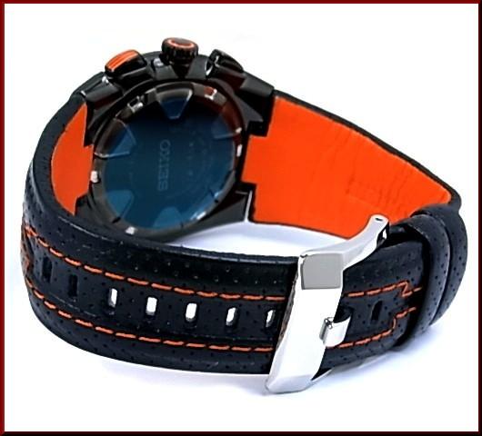 SEIKO/Sportura 남자 시계 알람 크로 노 그래프 블랙 문자판 블랙/오렌지 가죽 벨트 SNA595P2 (해외 모델)