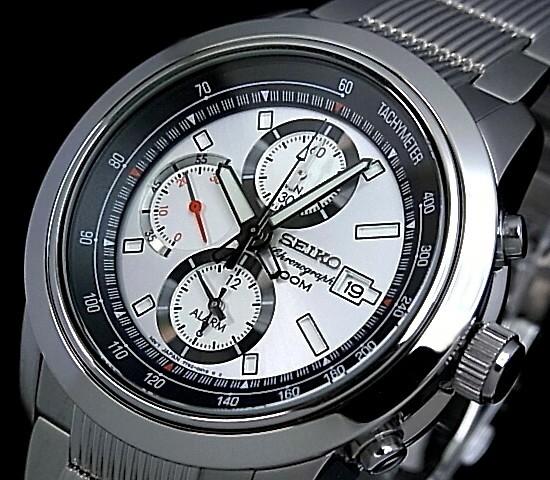 SEIKO/Alarm Chronograph【セイコー/アラームクロノグラフ】メンズ腕時計 シルバー文字盤 メタルベルト SNAB15P1 海外モデル【並行輸入品】