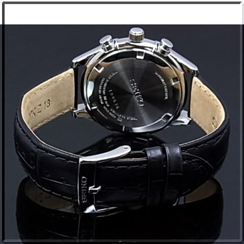SEIKO/Chronograph 남자 시계 블랙 가죽 벨트 회색 문자판 SSB023P1 해외 모델