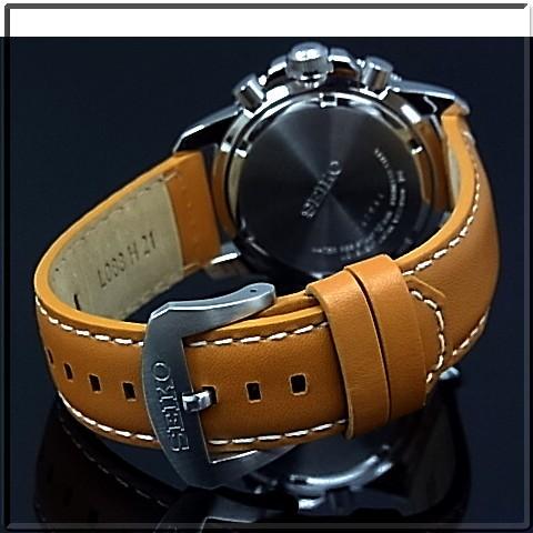 011359df3 ... SEIKO/PROSPEX Men's solar watch chronograph brown Leather strap black  dial SSC081P1 reverse import model ...