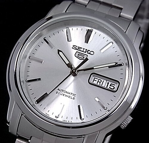 SEIKO/SEIKO5【セイコー5/セイコーファイブ】自動巻 メンズ腕時計 メタルベルト シルバー文字盤 SNKK65K1 海外モデル【並行輸入品】