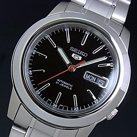 SEIKO/SEIKO5【セイコー5/セイコーファイブ】自動巻 メンズ腕時計 メタルベルト ブラック文字盤 セイコーファイブ SNKE53K1 海外モデル【並行輸入品】