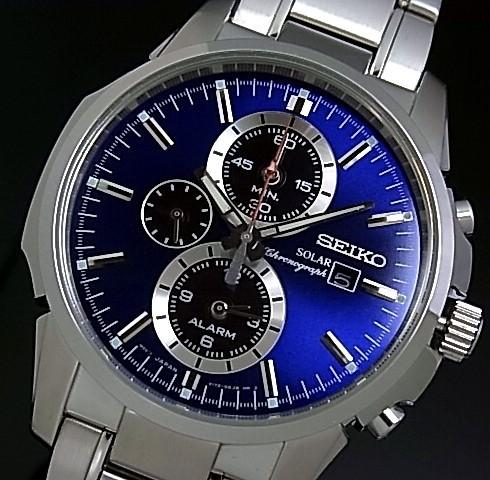 SEIKO/Alarm Chronograph【セイコー/アラームクロノグラフ】メンズ ソーラー腕時計 メタルベルト ネイビー/ブラック文字盤 SSC085P1 海外モデル【並行輸入品】