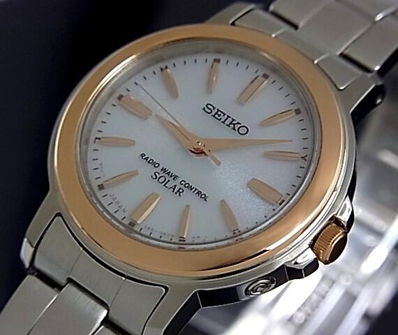 SEIKO/SPIRIT solar radio watch Womens pink gold bezel white character Panel metal belt (Japanese regular Edition) SSDT048