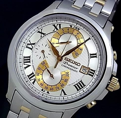SEIKO/Premier【セイコー/プルミエ】クロノグラフ ダブルレトログラード メンズ腕時計 コンビメタルベルト シルバー文字盤 SPC068P1 海外モデル【並行輸入品】