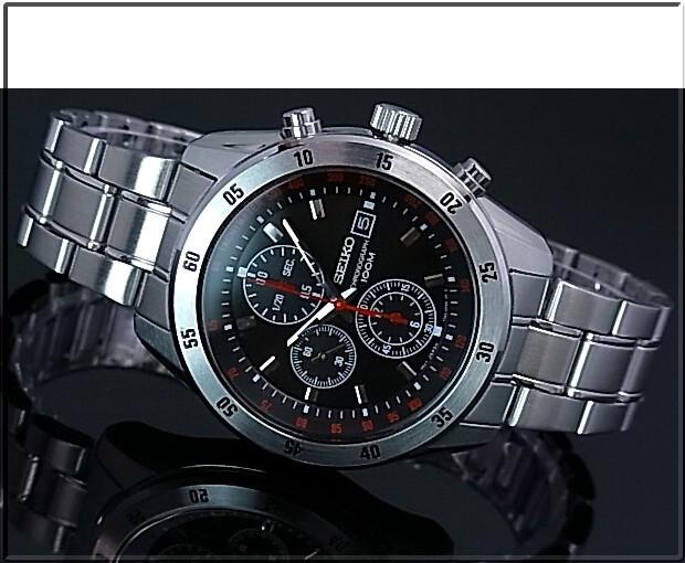 SEIKO/Chronograph men watch metal belt black clockface SNDC49P1 foreign countries model