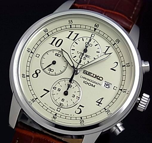 SEIKO/Chronograph【セイコー/クロノグラフ】メンズ腕時計 ブラウンレザーベルト アイボリー文字盤 SNDC31P1 海外モデル【並行輸入品】