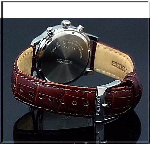 SEIKO/Chronograph mens watch brown leather belt ivory letter Board SNDC31P1 overseas models
