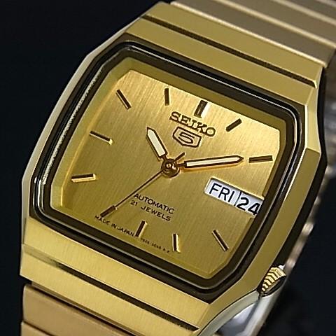 SEIKO/SEIKO5【セイコー5/セイコーファイブ】自動巻 メンズ腕時計 ゴールドメタルベルト ゴールド文字盤 SNXK90J1 MADE IN JAPAN 海外モデル【並行輸入品】