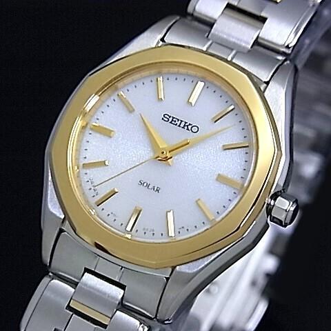 SEIKO/EXCELINE【セイコー/エクセリーヌ】レディース ソーラー腕時計 ゴールドベゼル ホワイト文字盤 メタルベルト(国内正規品)SWCQ008