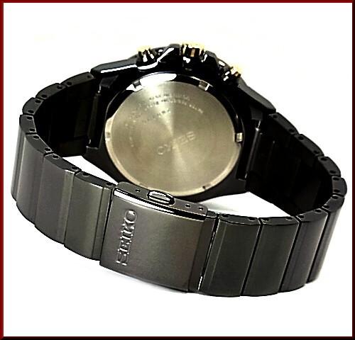 精工/计时男士手表黑色的金属带黑色和金色字母版 SNDD57P1 海外模型