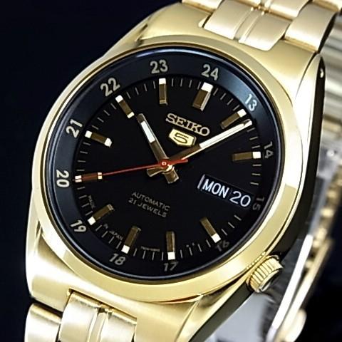 SEIKO/SEIKO5【セイコー5/セイコーファイブ】自動巻 メンズ腕時計 ゴールドメタルベルト ブラック文字盤 MADE IN JAPAN セイコーファイブ SNK576J1 海外モデル【並行輸入品】