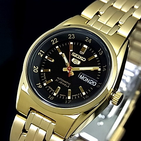SEIKO/オートマチック【セイコー/自動巻】レディース腕時計【SEIKO5/セイコー5】ゴールドメタルベルト ブラック文字盤 MADE IN JAPAN セイコーファイブ SYMC06J1 海外モデル【並行輸入品】