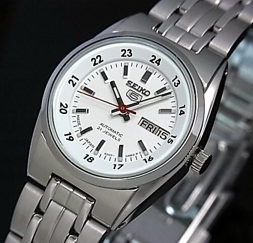 SEIKO/オートマチック【セイコー/自動巻】レディース腕時計【SEIKO5/セイコー5】メタルベルト ホワイト文字盤 MADE IN JAPAN セイコーファイブ SYMB93J1 海外モデル【並行輸入品】