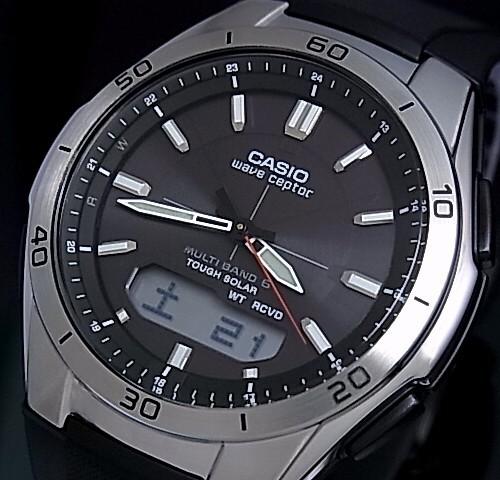 CASIO/Wave Ceptor 맨즈 손목시계 솔러 전파 손목시계 블랙 문자판 러버 벨트(국내 정규품) WVA-M640-1 AJF