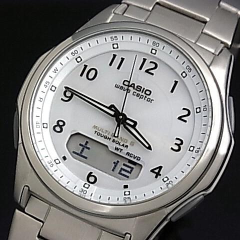 CASIO/Wave Ceptor【カシオ/ウェーブセプター】メンズ腕時計 ソーラー電波腕時計 チタンモデル ホワイト文字盤 メタルベルト(国内正規品)WVA-M630TDE-7AJF