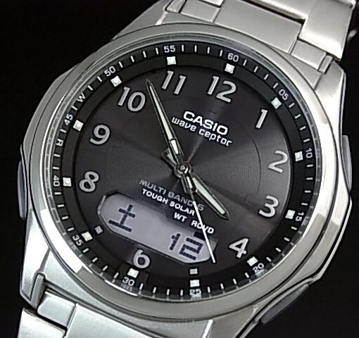 CASIO/Wave Ceptor【カシオ/ウェーブセプター】メンズ腕時計 ソーラー電波腕時計 チタンモデル ガンメタ文字盤 メタルベルト(国内正規品)WVA-M630TDE-1AJF