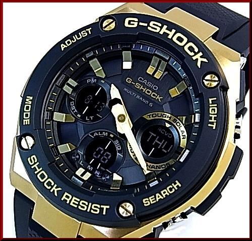 CASIO/G-SHOCKG-STEEL/G 스틸 솔 러 전파 시계 남성용 골드 케이스 블랙 문자판 블랙 고무 벨트 (국내 정품) GST-W100G-1AJF