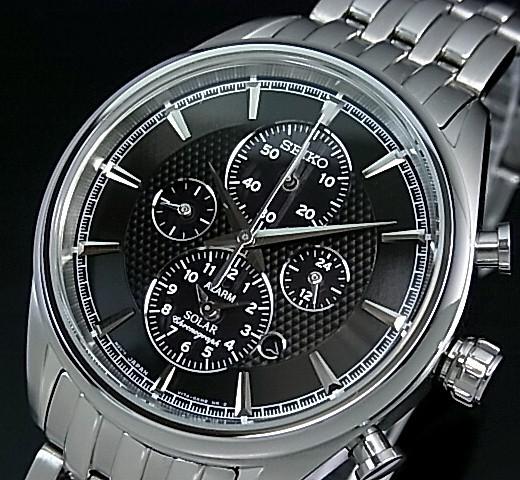 SEIKO/Alarm Chronograph【セイコー/アラームクロノグラフ】メンズ ソーラー腕時計 メタルベルト ブラック文字盤 SSC211P1 海外モデル【並行輸入品】
