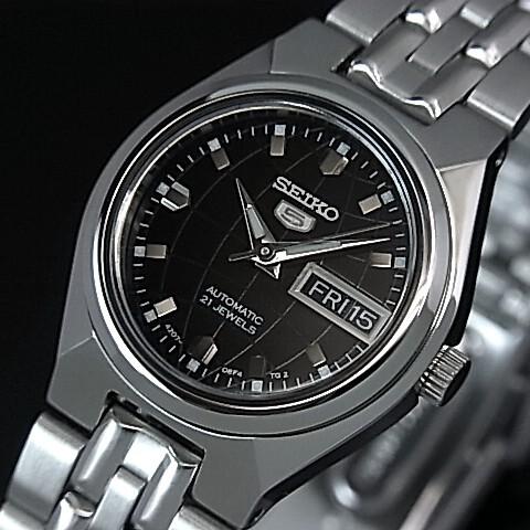 SEIKO/オートマチック【セイコー/自動巻】レディース腕時計【SEIKO5/セイコー5】メタルベルト ブラック文字盤 海外モデル【並行輸入品】 セイコーファイブ SYMK43K1