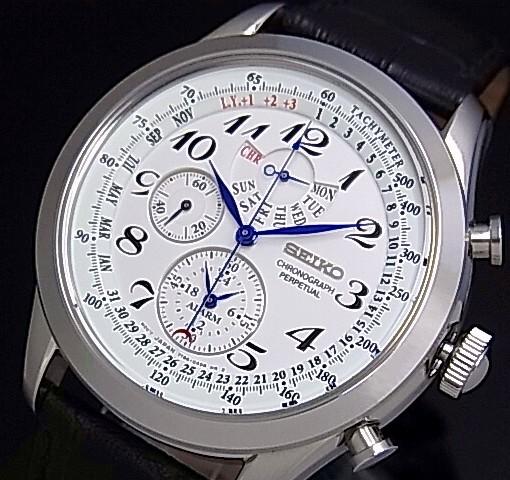 SEIKO/Alarm Chronograph【セイコー/アラームクロノグラフ】パーペチュアル メンズ腕時計 ブラックレザーベルト ホワイト文字盤 SPC131P1 海外モデル【並行輸入品】