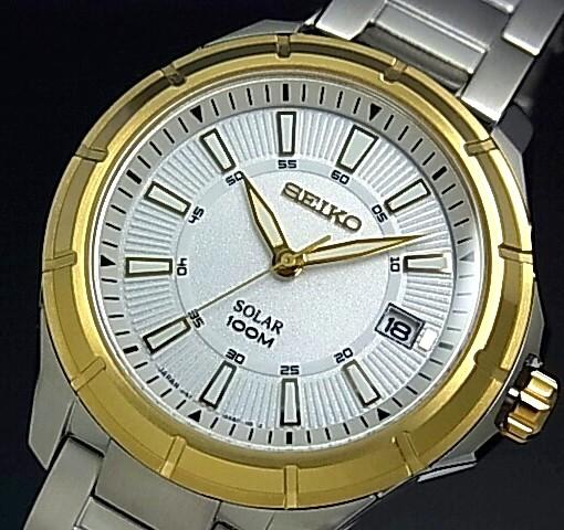 SEIKO/ソーラー時計【セイコー】メンズ腕時計 ゴールドベゼル メタルベルト ホワイト文字盤 MADE IN JAPAN 海外モデル【並行輸入品】 SNE084J