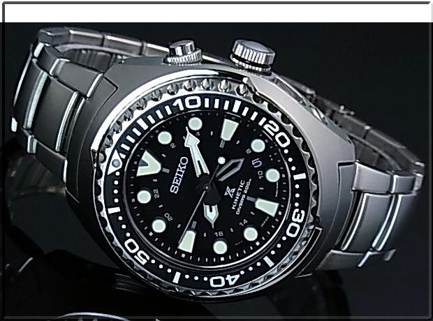 SEIKO/PROSPEX kinetic GMT 200 m waterproof air for divers diver men's watch black characters Edition metal belt SUN019P1 (overseas model)