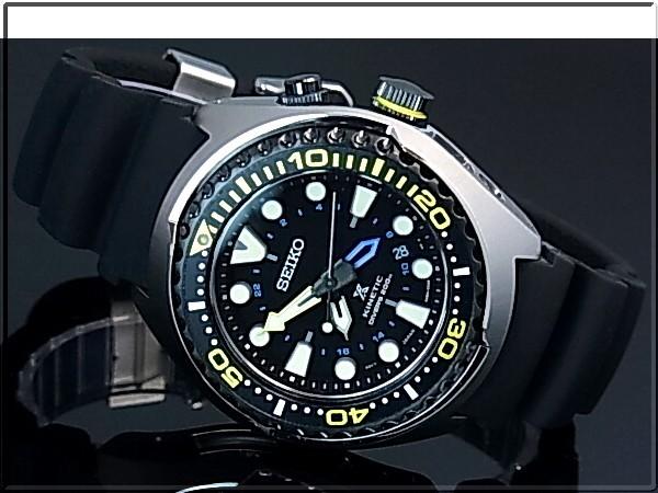 SEIKO/PROSPEX キネテック GMT 200m 방수 공기 잠수 다이 버 남자 시계 블랙 문자판 블랙 고무 벨트 SUN021P1 (해외 모델)