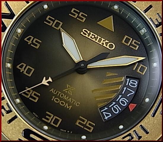 SEIKO/PROSPEX 한정 모델 자동 권 남자 시계 건 메탈/골드 문자판 브라운 가죽 벨트 (해외 모델) SRP580K1