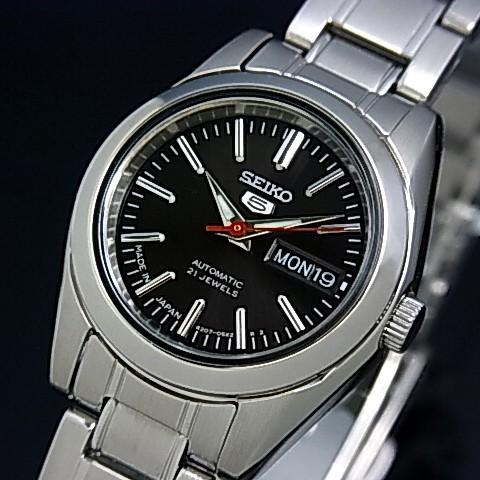 SEIKO/オートマチック【セイコー/自動巻】レディース腕時計【SEIKO5/セイコー5】メタルベルト ブラック文字盤 MADE IN JAPAN 海外モデル【並行輸入品】 セイコーファイブ SYMK17J1