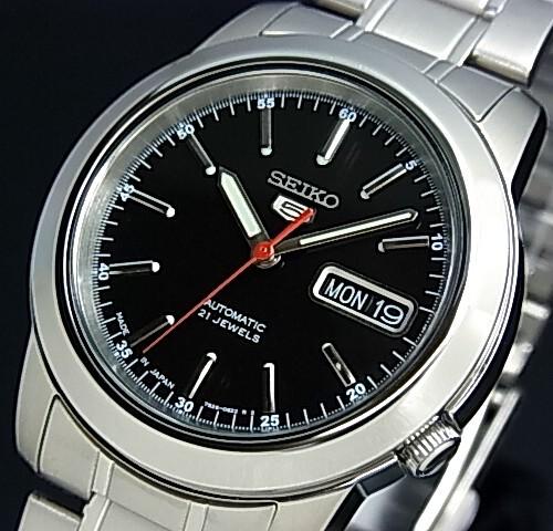 SEIKO/SEIKO5【セイコー5/セイコーファイブ】自動巻 メンズ腕時計 メタルベルト ブラック文字盤 MADE IN JAPAN セイコーファイブ SNKE53J1 海外モデル【並行輸入品】