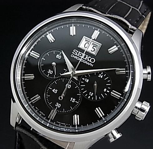 SEIKO/Chronograph【セイコー/クロノグラフ】メンズ腕時計 グレーレザーベルト ブラック文字盤 SPC083P2 海外モデル【並行輸入品】