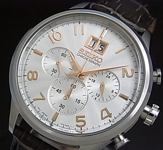 SEIKO/Chronograph【セイコー/クロノグラフ】メンズ腕時計 グレーレザーベルト シルバー文字盤 SPC087P1 海外モデル【並行輸入品】
