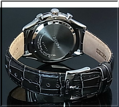 SEIKO/Chronograph 남자 시계 회색 가죽 벨트 실버/블루 문자판 SPC155P1 (해외 모델)