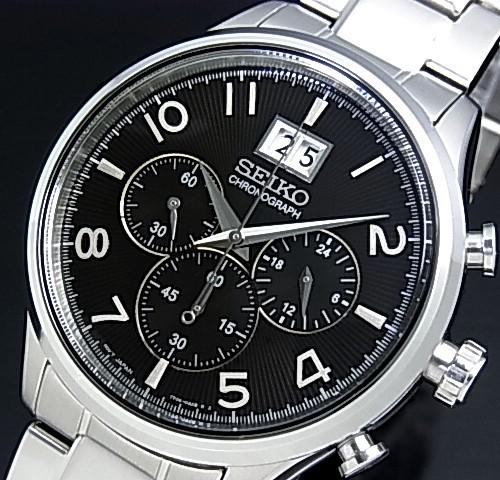 SEIKO/Chronograph【セイコー/クロノグラフ】メンズ腕時計 メタルベルト ブラック文字盤 SPC153P1 海外モデル【並行輸入品】